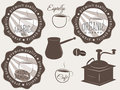 Coffee labels and badges elements set vector Stock Photo