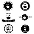 Coffee labels different free wi fi and on white background Royalty Free Stock Photo