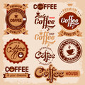 Coffee labels set of badges and in vintage style Stock Photos