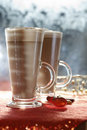 Coffee latte macchiato  in glasses Royalty Free Stock Photo