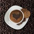 Coffee love cup of with heart and cookies Royalty Free Stock Image