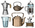 Coffee maker or grinder, french press, measuring capacity, Chinese teapot or kettle. Chef and kitchen utensils, cooking