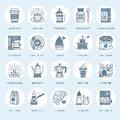 Coffee making equipment vector line icons. Tools - moka pot, french press, coffee grinder, espresso, vending, plant