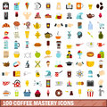 100 coffee mastery icons set, flat style