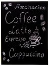 Coffee menu on black background, vintage style stylized drawning with chalk on blackboard.