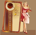 Coffee menu blond girl waitress Stock Photo