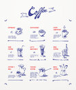 Coffee menu design blue pen drawings Royalty Free Stock Images