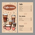 Coffee menu design template with list of hot drinks and desserts. Vector outline colorful hand drawn illustration