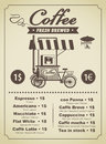 Coffee menu with a mobile kitchen Stock Photo