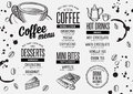 Coffee menu placemat food restaurant brochure and cafe template design Stock Images