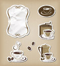 Coffee menu vintage set icons editable vector Royalty Free Stock Photos