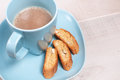Coffee with milk and almond biscuit cookies horizontal Stock Photography