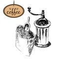 Coffee mill and bag Stock Photo