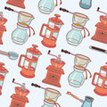 Coffee mill, geyser coffee maker and cup, vector seamless pattern