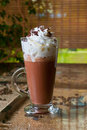 Coffee mocha with whipped cream and chocolate Stock Photos