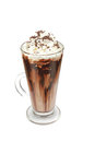 Coffee mocha with whipped cream and chocolate on white Royalty Free Stock Photos