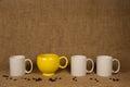 Coffee Mug Background - Unique Mug and Beans Royalty Free Stock Photo