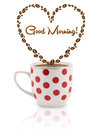 Coffee mug with coffee beans shaped heart with good morning sign isolated on white Stock Photos