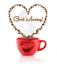Coffee mug with coffee beans shaped heart with good morning sign on white Royalty Free Stock Photography
