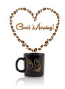 Coffee mug with coffee beans shaped heart with good morning sign on white Stock Photo