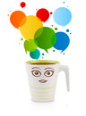 Coffee mug with colorful abstract speech bubble isolated on white Royalty Free Stock Photo
