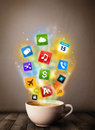 Coffee mug with colorful media icons close up Royalty Free Stock Photos