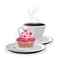 Coffee mug and cupcake