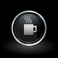 Coffee mug icon inside round silver and black emblem Royalty Free Stock Photo