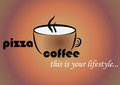 A coffee mug with the words pizza and coffee. Advertising logo for a coffee house and pizzeria.