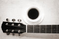 Coffee and music image in old colors style Stock Photo