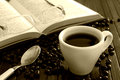 Coffee and open book Royalty Free Stock Photo