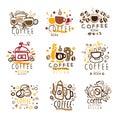 Coffee Original Colorful Graphic Design Template Logo Series,Hand Drawn Vector Stencils