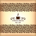 Coffee ornamental card on blur background vector illustrations of house Royalty Free Stock Image