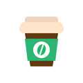 Coffee paper cup flat icon, vector sign, colorful pictogram isolated on white.