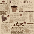 Coffee pattern seamless background will tile endlessly background with fake of newspaper Royalty Free Stock Photography