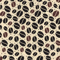 Coffee pattern vector seamless with beans Stock Photography