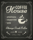 Coffee poster on blackboard stylized drawing in chalk Royalty Free Stock Photography