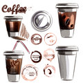 Coffee poster with mugs of coffee calligraphic signature in vint