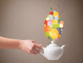 Coffee pot with colorful speech bubbles close up Stock Photos