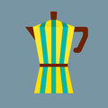 Coffee pot colorful stripes illustration Royalty Free Stock Photo
