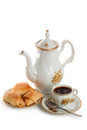 Coffee pot with cup and saucer of cakes Royalty Free Stock Photography