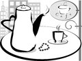 Coffee pot and cup on the table at the morning outline Stock Photo