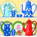 Coffee pots and dishes Royalty Free Stock Images