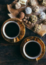 Coffee and pralines Royalty Free Stock Photo