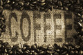 COFFEE printed onto a burlap sack Stock Photos