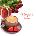 Coffee red candy gift and roses for valentine s day isolated on white Stock Photo