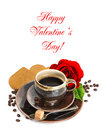 Coffee, red rose flower and heart cake on white Royalty Free Stock Photo