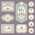 Coffee and restaurant labels collection of vintage retro grunge Stock Photography