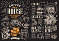 Coffee restaurant menu on chalkboard. Vector drink flyer for bar