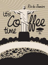 Coffee rio de janeiro cup of on a background of the statue of christ the redeemer in Royalty Free Stock Photography